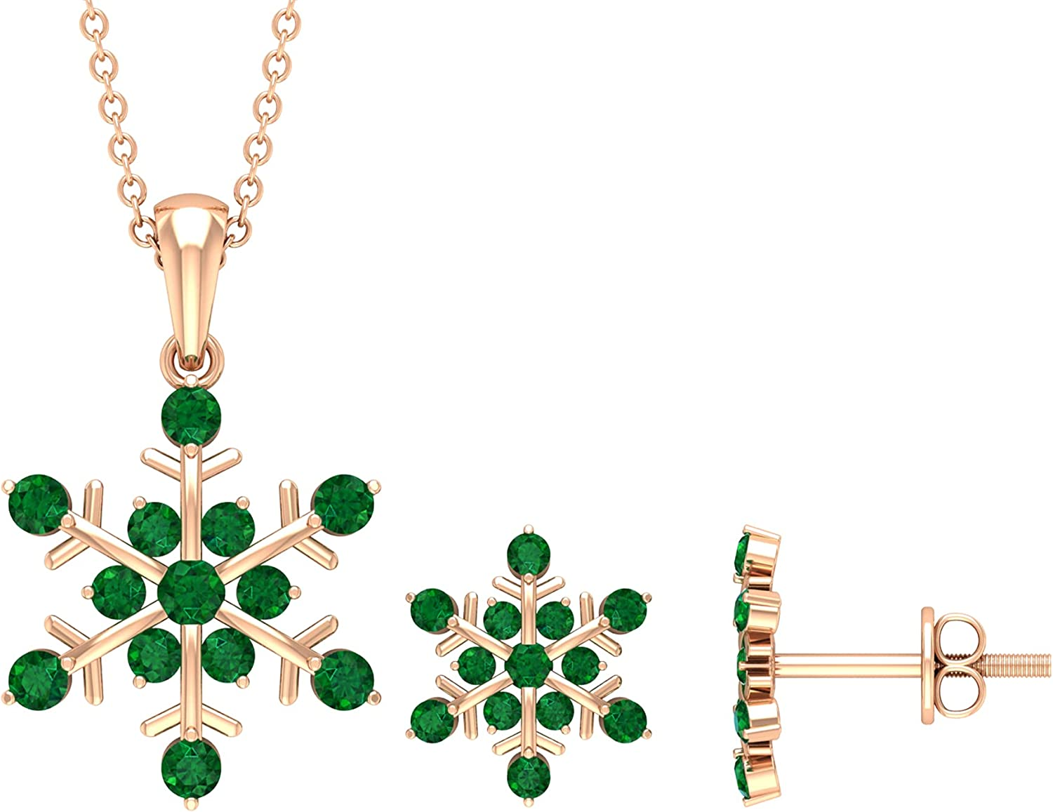 Snowflake Earrings and Necklace Set, Gold Jewelry Sets For Women 14K Rose Gold