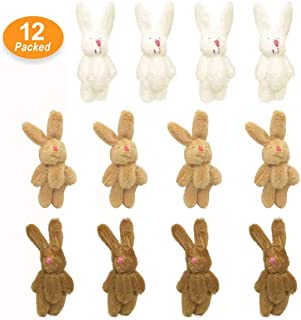 KUDES 12Pcs 6CM Mini Joint Rabbit Stuffed Animal Plush Toys Wedding Gift Box Doll Toy for Birthday Cake Wedding Decorations Party Favors Supplies Bag Charm DIY Accessory