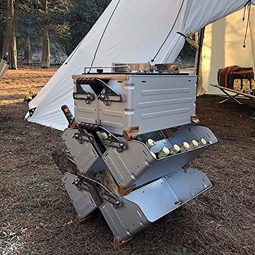 ARCH @WRJ Mesa lateral plegable para patio al aire libre, mesa de bebidas de jardín, caja de almacenamiento para barbacoas, fiestas, camping, compacto y plegable