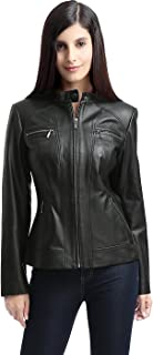 BGSD Women's Mila Zip Front Leather Jacket (Regular and Plus Size and Short)