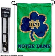 Notre Dame Fighting Irish Shamrock Garden Flag with Stand Holder