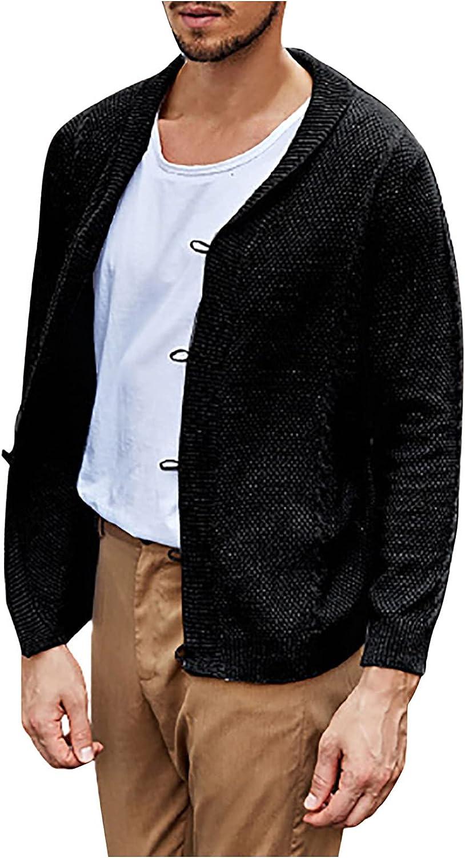 Knitwear Coat for Men's Sweater Cardigan Fashion Lapel Long Sleeve Button Flat Knitted Henley Sweater Jacket