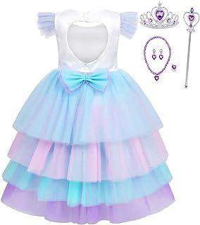 HenzWorld Girls Dress Unicorn Costume Princess Birthday Party Xmas Cosplay Jewelry Accessories