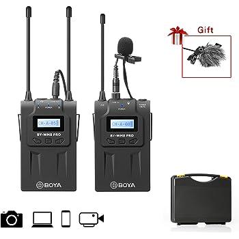 BOYA Sistema de micrófono inalámbrico de dos canales Lavalier ...