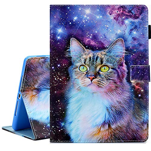 KEROM iPad Mini Case, iPad Mini 2 3 4 5 Case, PU Leather Slim Flip Wallet Case, Smart Cover with Stand and Auto Wake/Sleep, Shockproof Protective Case for iPad Mini 5/4/3/2/1 -Galaxy Cat