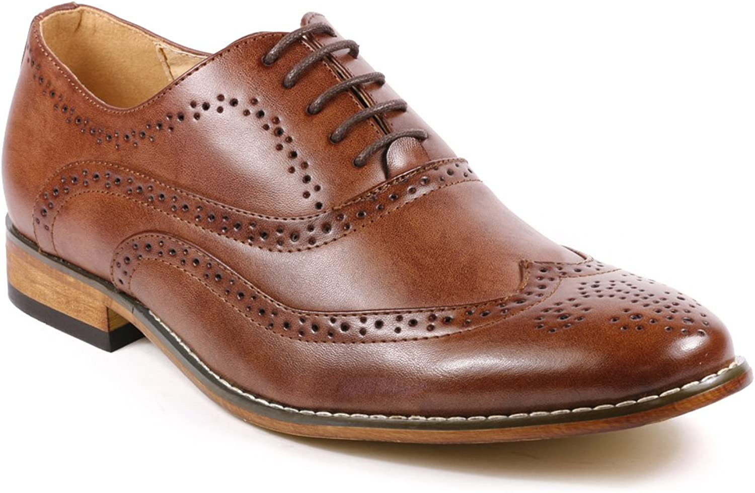 UV SIGNATURE UV002 Men's Wing Tip Perforated Lace Up Oxford Dress shoes
