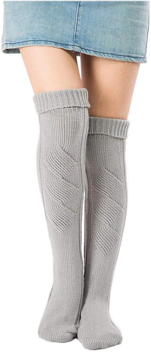 XueXian Women's Girl's Acrylic Wool Knit Solid Thigh Length Leg Warmer Stockings