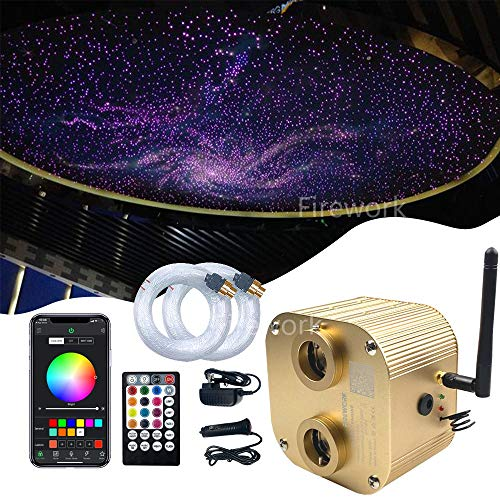 FIREWORK Bluetooth 16W Twinkle Fiber Optic Star Ceiling Light Kit with APP/Remote Music Mode RGBW LED Starlight Headliner for Car Home Ceiling Decoration, 720pcs 0.03in 9.8ft