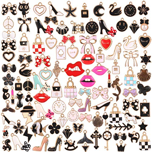 Chutoral 105 Pcs Alloy Assorted Enamel Charms, Bow-Knot Cat High Heels Handbag Lovely Pattern Charms for Women Girls DIY Jewelry Crafting Making