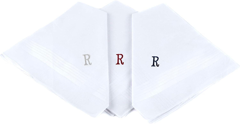 Boxed 3 pc. Initial Cotton Handkerchiefs, INITIAL
