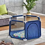 Kids 6-Panel Portable Play Yard for Infant Toddler, Safety Baby Play Pen with Door, Playard Fence for Indoor Outdoor with Carrying Bag