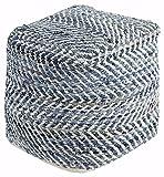 Signature Design by Ashley Chevron Handmade Woven Pouf 20 x 20, Blue and White