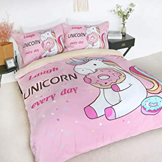 BlessLiving Unicorn 100% Cotton Duvet Cover Twin Size Unicorn Eating Doughnut Funny Pattern 3 Pieces Unicorn Cotton Pink Bedding for Girls Unicorn Bedspread Unicorn Gifts