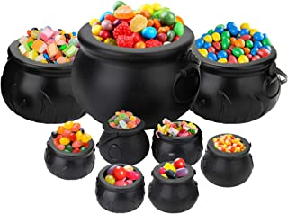 Tebery 9 Pack Black Cauldron Multi-purposed Novelty Candy Holder Pot with Handle for Halloween, Harry Potter, St Patrick's Day Party Favors