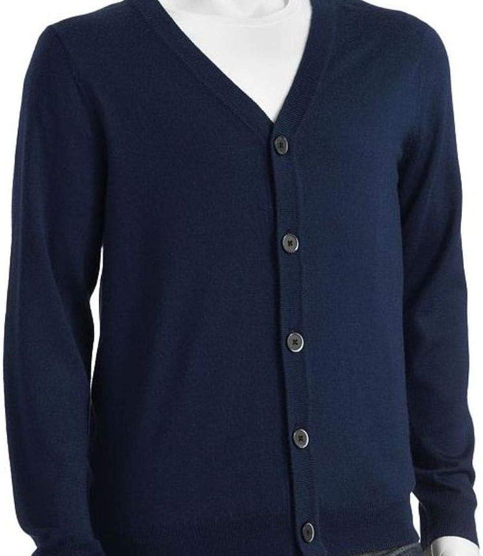 LIZ CLAIBORNE Apt 9 Mens Classic Fit Cardigan Sweater Merino Wool Blend Peacoat Blue