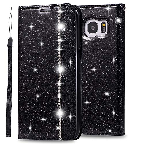 Huphant Compatible for Schutzhülle Samsung Galaxy S7 Edge Hülle Strass Glitzer Geschäft Wallet Flip Hülle Samsung Galaxy S7 Edge Brieftasche Handyhülle Klapphülle Ständer Kartenfächer -Schwarz