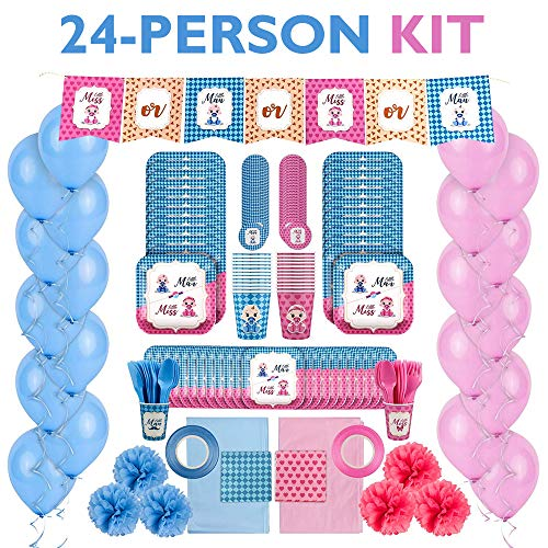 Baby Shower Gender Reveal Party Supplies Kit for Baby Boy or Girl Gender Reveal Decorations  Tableware Set for 24 People  Pink and Blue Balloons Plates Cups Tablecloths Banner and More