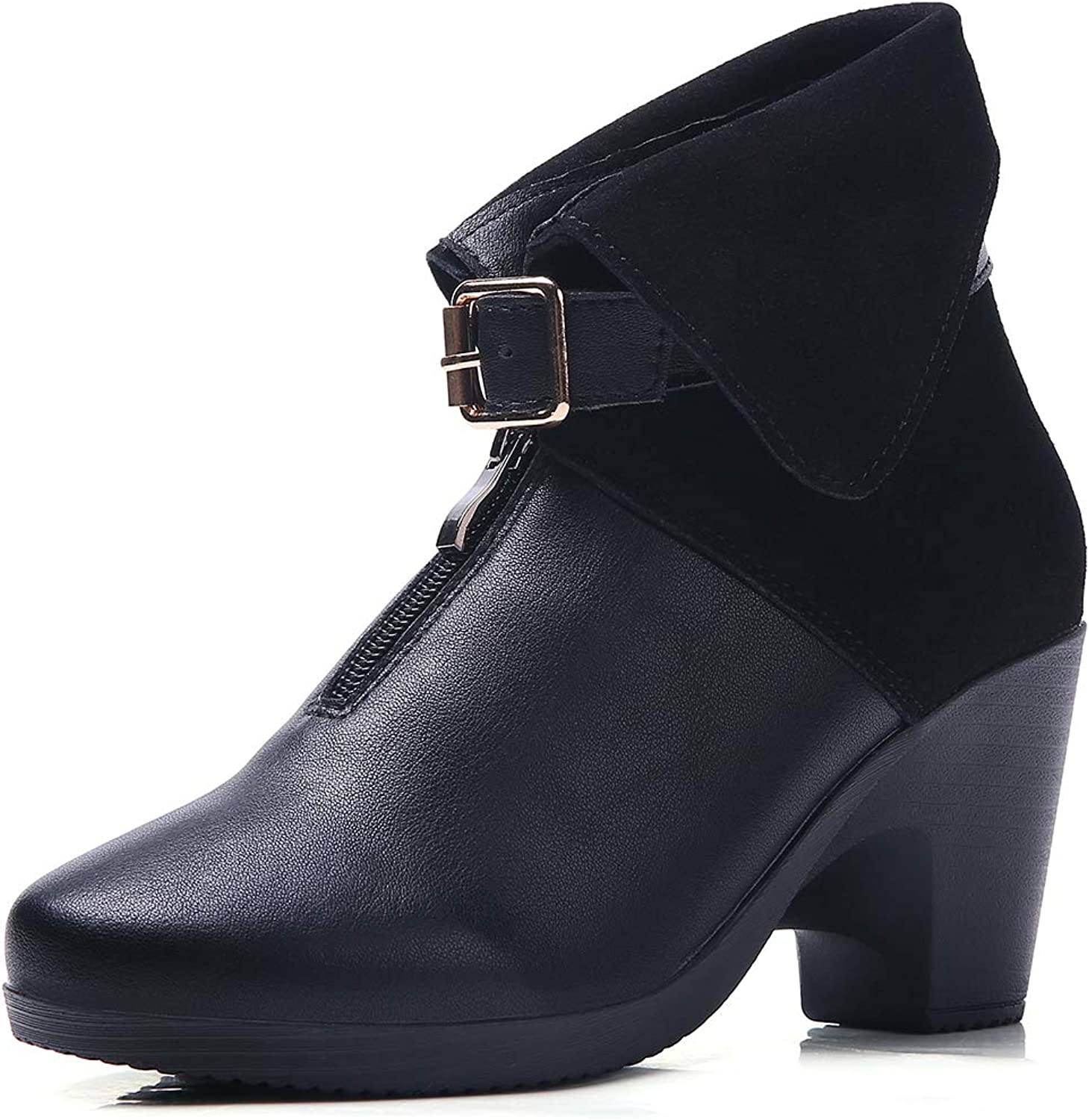 GENICA Women Designer Ankle Boots Leather Strap Buckle shoes