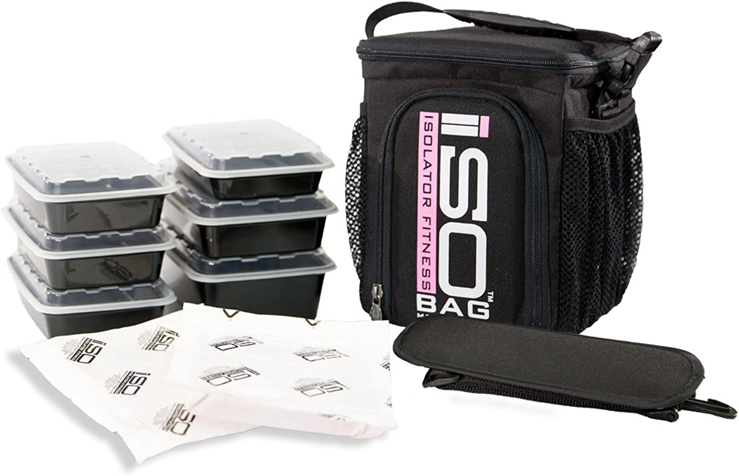 Isolator Fitness 3 Meal ISOCUBE Meal Prep Management Insulated Lunch Bag Cooler with 6 Stackable Meal Prep Containers, 2 ISOBRICKS, and Shoulder Strap - MADE IN USA (Black Pink Logo)