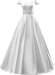 LiCheng Bridal Women's Long Evening Formal Dress V-Neck Sleeveless with Pockets Off The Shoulder Beaded Satin Prom Dresses Floor Length