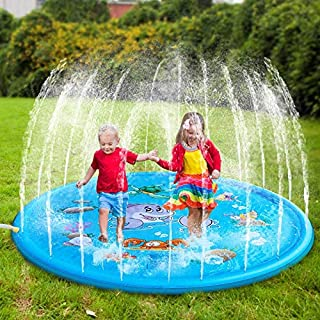 WENQITZTZ Splash Pad for Kids, Sprinkler Toy Splash Pad, Water Spray pad, Sprinklers for Yard Kid, Water Slides for Kids Backyard, Slip and Slide