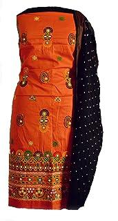 KATHIWALAS Women's Cotton Silk Kutch Work Bandhani/Bandhej Unstitched Dress Material Suit (ORANGE BLACK, Free Size)