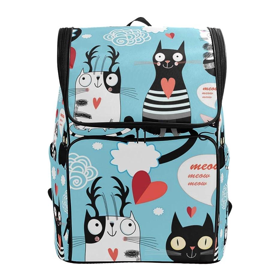 ファイルかけがえのない泣き叫ぶマキク(MAKIKU) リュック 大容量 恋したい 猫柄 キャット 愛情 ブルー リュックサック 軽量 メンズ 登山 通学 通勤 旅行 プレゼント対応
