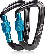 STURME Locking Carabiner Clip -12KN/2697lbs Aluminium Ultra Sturdy & Light, Screwgate Carabiner Heavy Duty for Hammocks Traveling Dog Leash Or Keychain and More (2 Pcs)