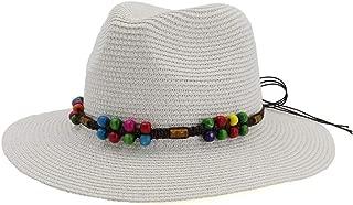 Lady's Sun hat Casual Panama Sun Hats Whole Gloss Fedora Men Summer Hats for Trilby Gangster Cap Church Jazz Hats Wide Brim Sunhats Sun hat (Color : White, Size : 56-58CM)