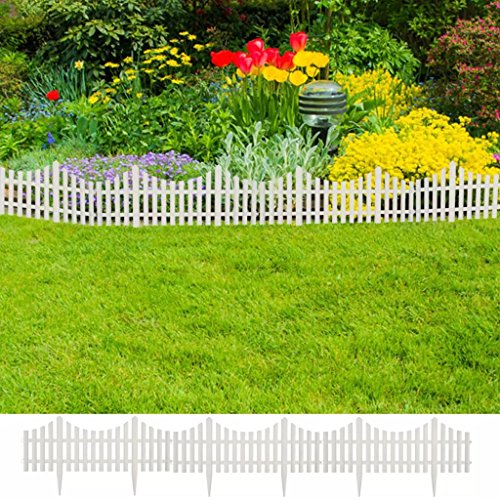 Festnight Gartenzaun 17 TLG 10 m Rasenkanten Beeteinfassung Palisade Beetumrandung Weiß