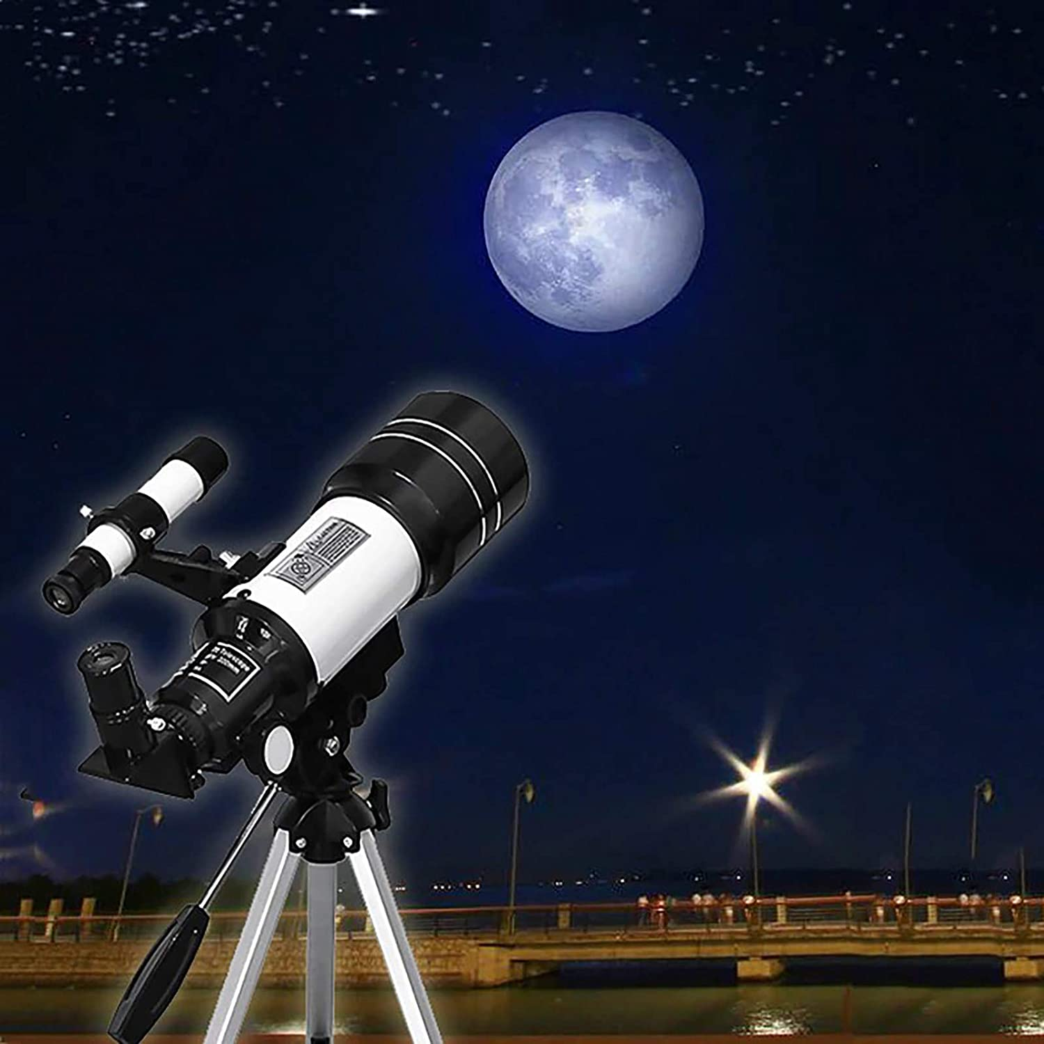 70mm Aperture Telescope with Tripod Astronomical Refracting Telescope for Astronomy Beginners Telescope for Adults Astronomy Gifts Travel Telescope with 2 Magnification Eyepieces