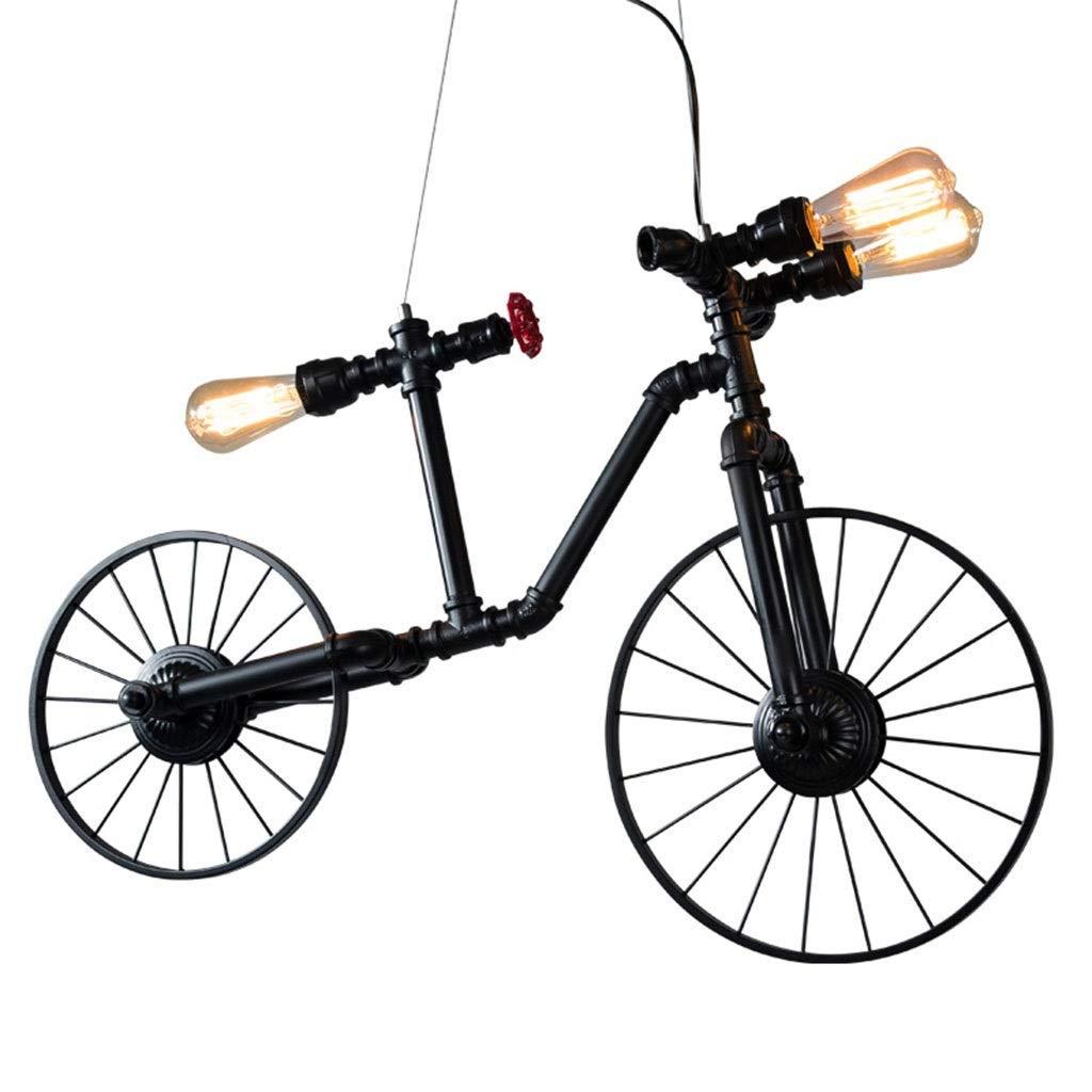 Goodde Tubo Estilo de Forma Industrial lámparas del Metal Forjado de Techo de la Vendimia Negro Lámpara Creativa Agua de la Bicicleta Iluminación Colgantes Muebles (Color: Negro, tamaño: 97 * 58 cm):