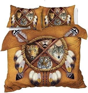home + Juego Funda nórdica Lobo Dreamcatcher Lecho Rey Funda Nórdica Colchas Animales 3D Tribal Dormitorios León del Leopardo del Tigre Juego De Cama Juego Funda Edredón (Color : A, Size : US Full)