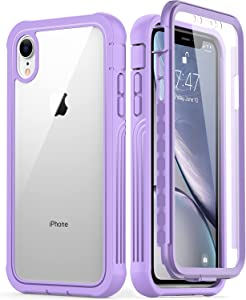 GOODON iPhone XR Case with Built-in Screen Protector,Pass 20 ft. Drop Test Military Grade Shockproof Clear Cover Full Body Protective Phone Case for Apple iPhone XR Lavender Purple