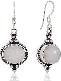 925 Sterling Silver Natural Gemstone Indian Inspired Vintage Oval Dangle Hook Earrings 1.5