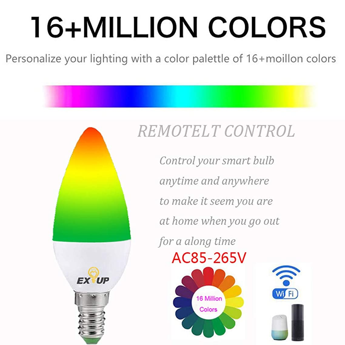 Smart Led Bulbs, WiFi Smart Led Bulbs16 Million Colors, for Most Lamps & Overhead Lights, Hub Required, Compatible with Alexa, LUMIMAN or Google Assistant E14 (1PC)