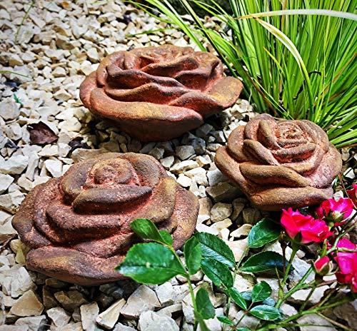 Radami 3 er Set Stein Rose Steinrose Rosenblüte Blüte Blumen Steinguss frostfest wetterfest Garten Deko Rost Metall Optik Handarbeit/aufwendig von Hand bemalt