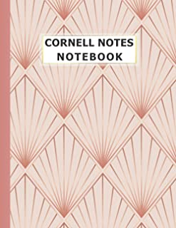 Cornell Notes Notebook: Luxury Rose Gold Geometric Pattern Cornell Notes Taking Notebook with Index College Ruled Medium L...