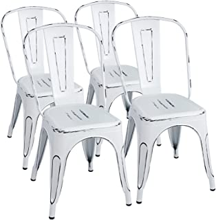 Furmax Metal Chairs Indoor/Outdoor Use Stackable Chic Dining Bistro Cafe Side Chairs Set of 4 (Distressed White)