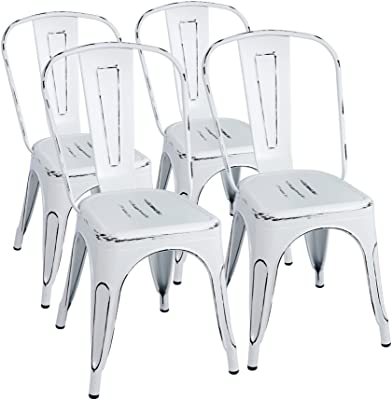 Amazon Com Furmax Metal Chairs Indoor Outdoor Use Stackable Chic Dining Bistro Cafe Side Chairs Set Of 4 Distressed White Furniture Decor