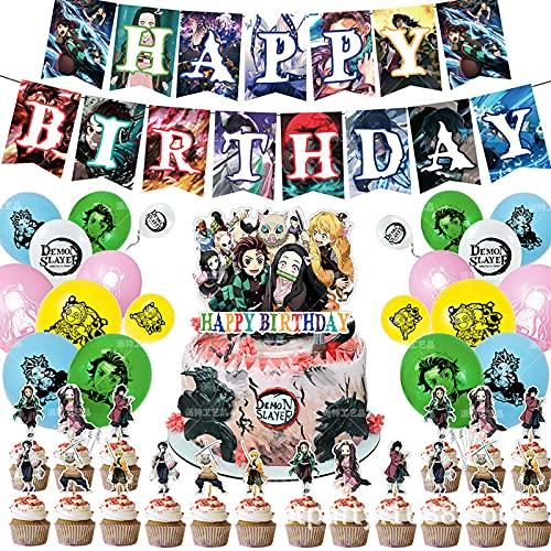 Globos Anime Demon Slayer Banner de cumpleaños Anime Theme Cake Topper Baby Shower Party Decorations