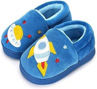 Ruiuzi Pantuflas Antideslizante de Invierno para niños Zapatillas de casa de Peluche cálida para niños