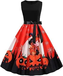 NIUQI Women New Halloween Pumpkin Print Dress Round Neck Zipper Hepburn Party Dress