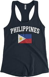 Cybertela Women's Faded Distressed Philippines Flag Racerback Tank Top