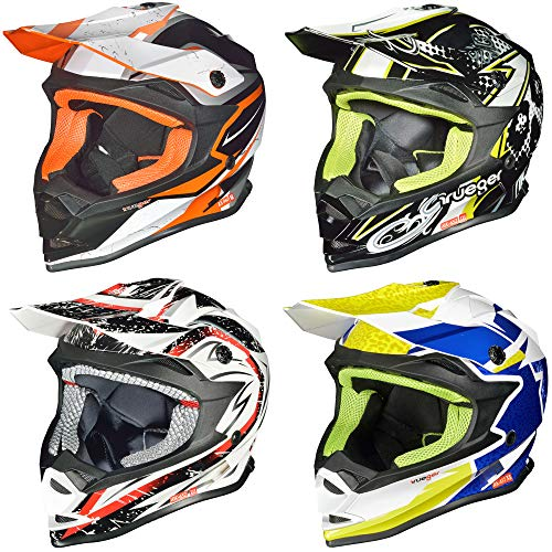 RK-652 Kinder Crosshelm Endurohelm Motorradhelm Roller Quad Helm Kinderhelm, Größe:XS (53-54), Farbe:Light Orange