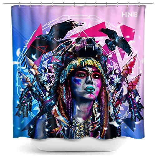 HNB Graffiti Duschvorhang für Badezimmer Dekoration Frau & Adler Menschen Portrait Polyester Stoff Badvorhang Set mit Haken 183 x 183 cm