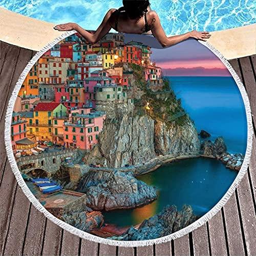 Toalla de Playa Redonda Italia Toalla de Playa Nocturna Alfombras Redondas Ligeras de Playa Mantel Circular Estera de Yoga Alfombras de Picnic de meditación-Blanco-59 Pulgadas