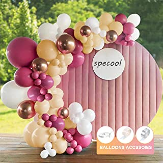 Kit Arche Ballon Guirlande,specool 114 pack Décorations Anniversaire Vintage Rose, Blanc Ivoire, Abricot, Or Rose Arche Ba...