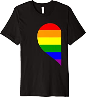 LGBT Matching Couple Valentine's Day T-Shirt Rainbow Heart