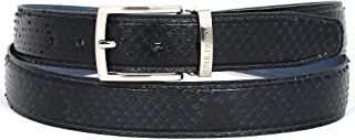PAUL PARKMAN Men`s Navy Genuine Python (snakeskin) Belt (ID#B03-NVY)